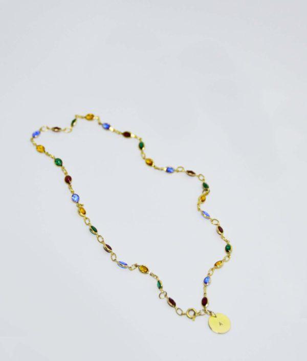 Cadena cristales oro chapa